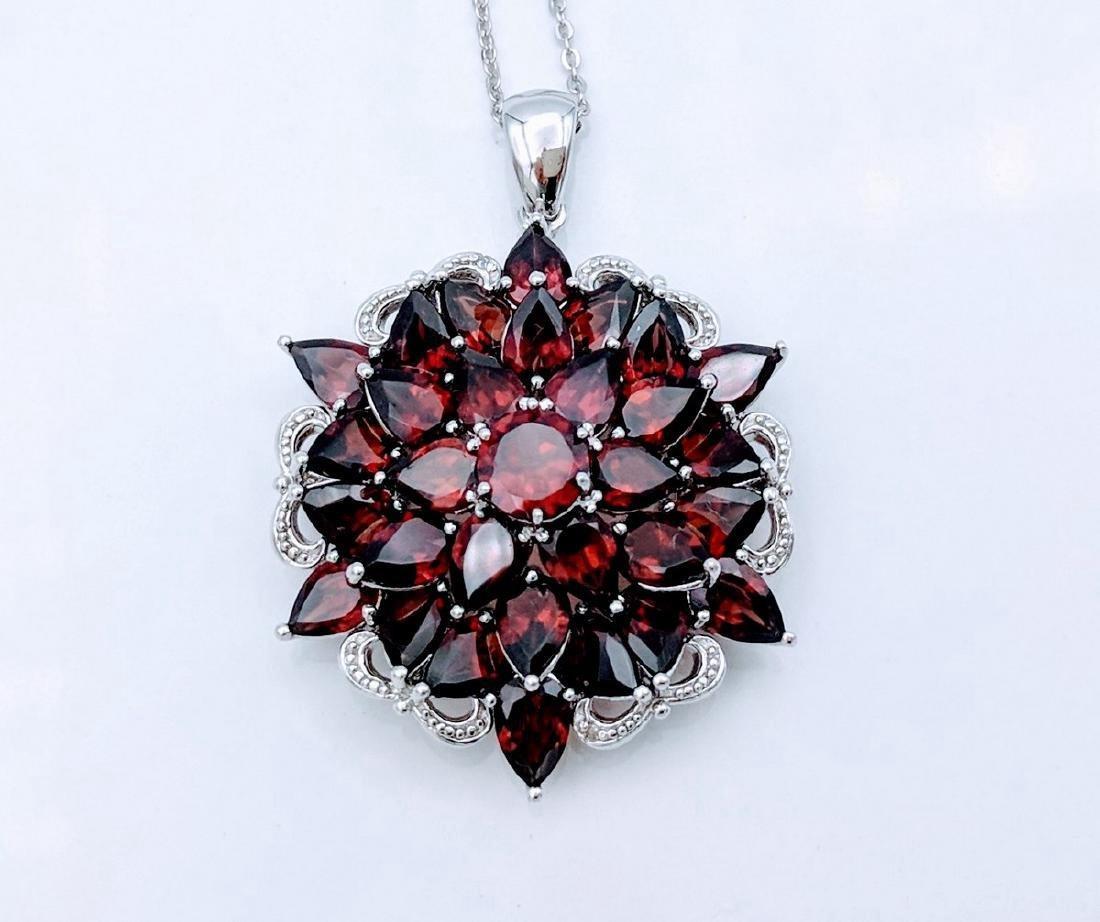 Sterling Silver Almandine Garnet Diamond Necklace