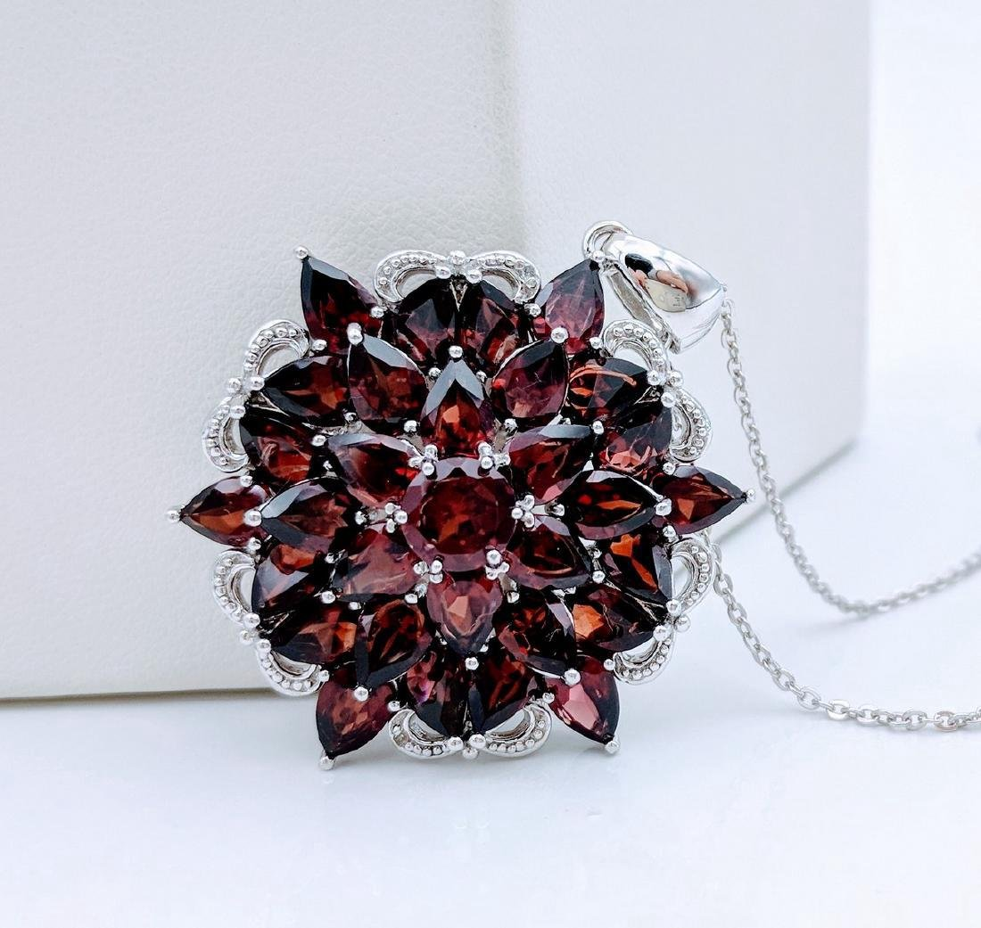 Sterling Silver Almandine Garnet Diamond Necklace - 2