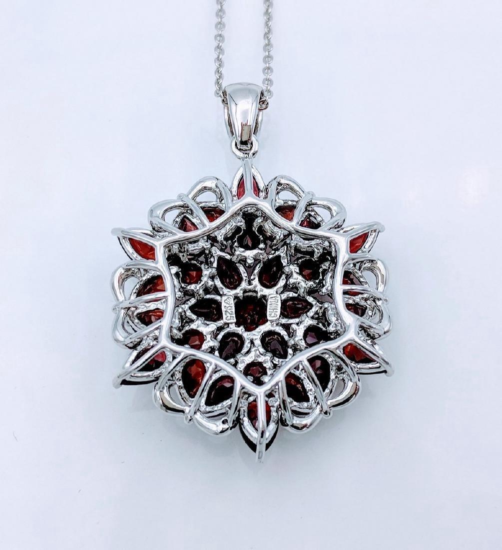 Sterling Silver Almandine Garnet Diamond Necklace - 3