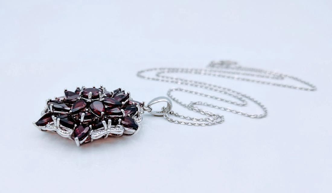Sterling Silver Almandine Garnet Diamond Necklace - 4