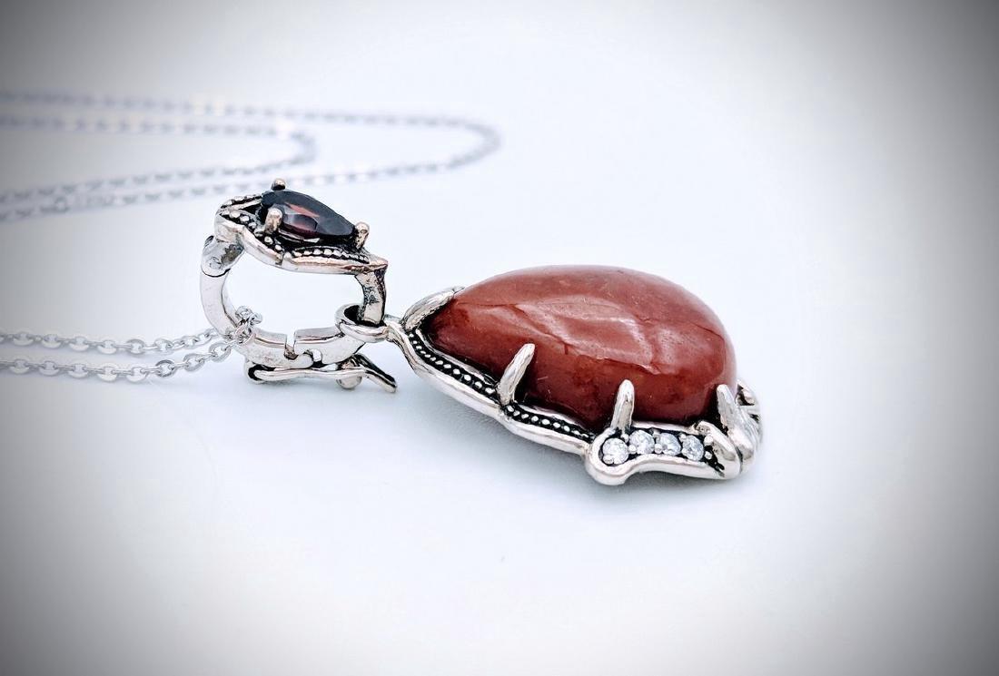 Sterling Silver Jasper Red Garnet CZ Necklace - 3