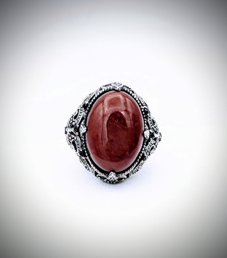 Sterling Silver Victorian Style Jasper Red Garnet Ring