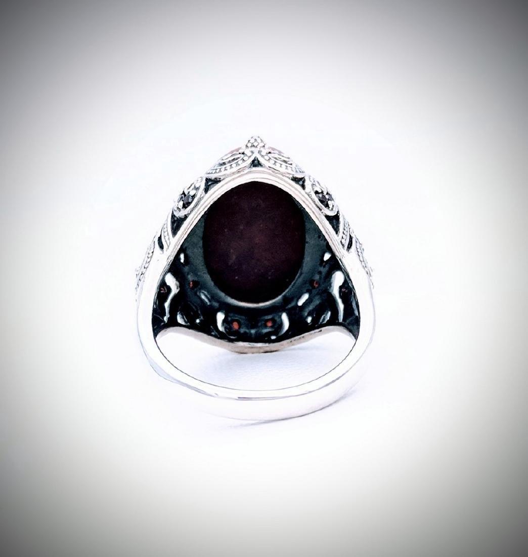Sterling Silver Victorian Style Jasper Red Garnet Ring - 2