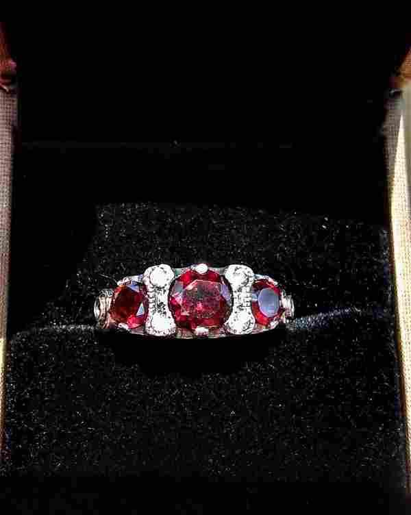 Edwardian Style Sterling Silver Natural Garnet Ring