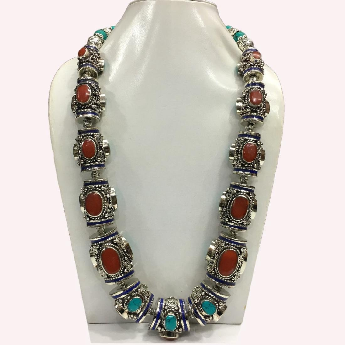 Tibetan Silver Turquoise Coral Handmade Necklace