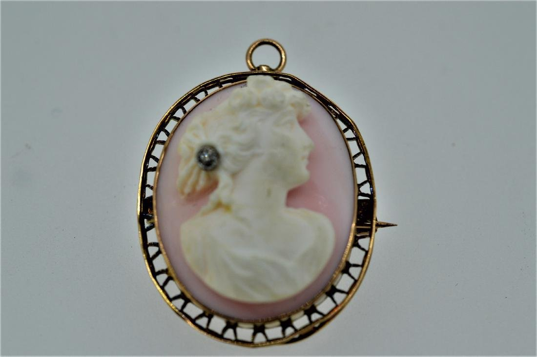 10k Gold Soapstone Diamond Cameo Pin, .02ct