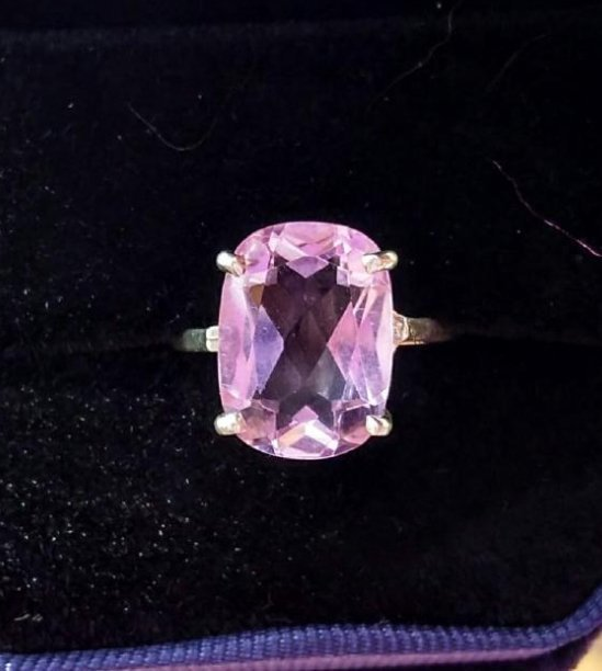 Sterling Silver Pink Kunzite Classic Style Ring, 8ct