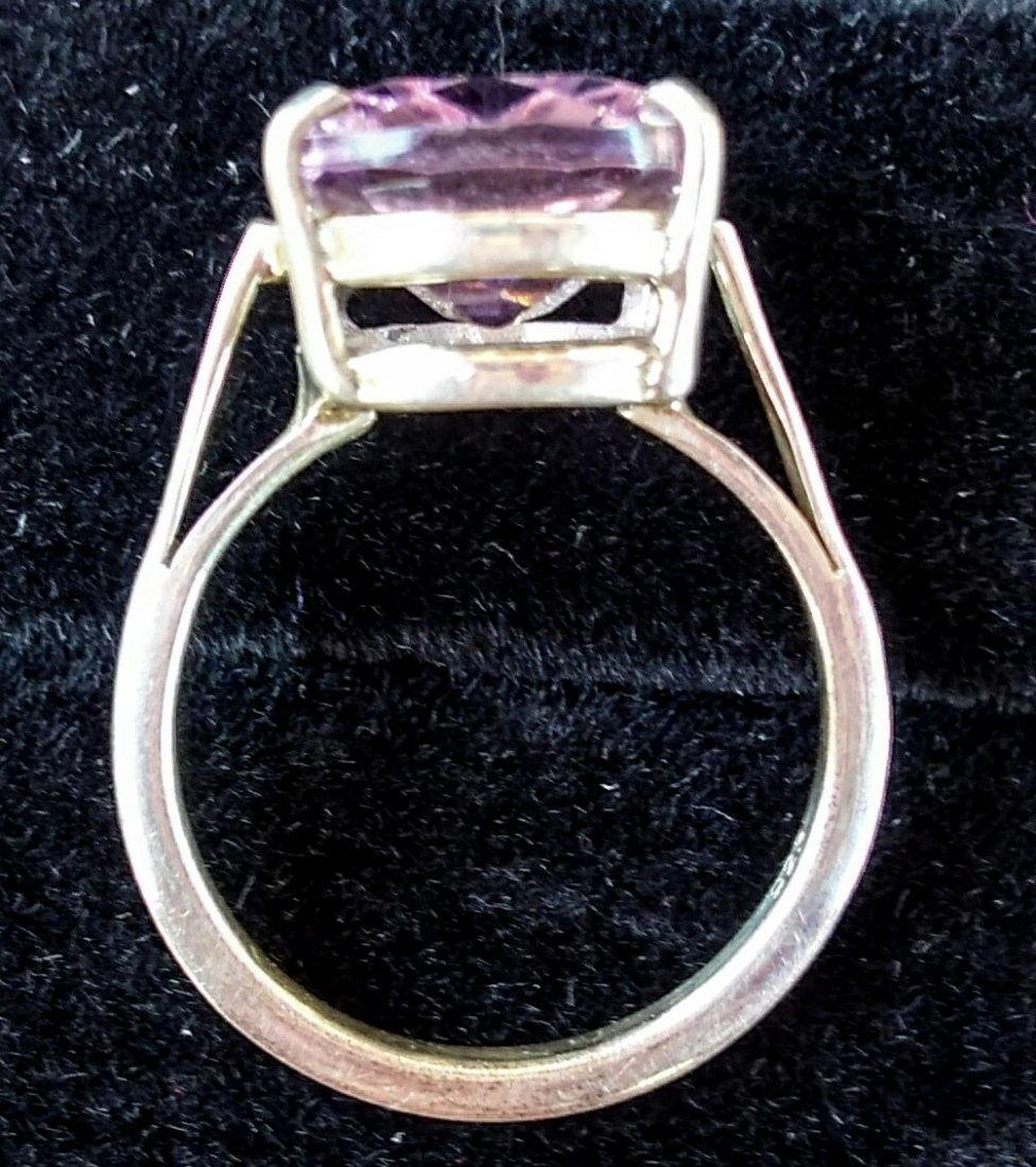 Sterling Silver Pink Kunzite Classic Style Ring, 8ct - 2