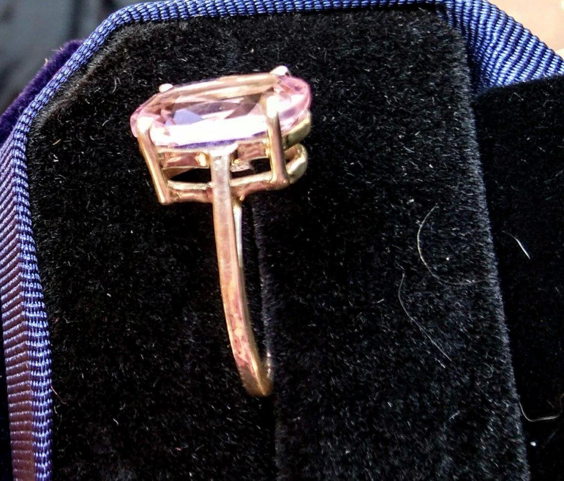 Sterling Silver Pink Kunzite Classic Style Ring, 8ct - 5