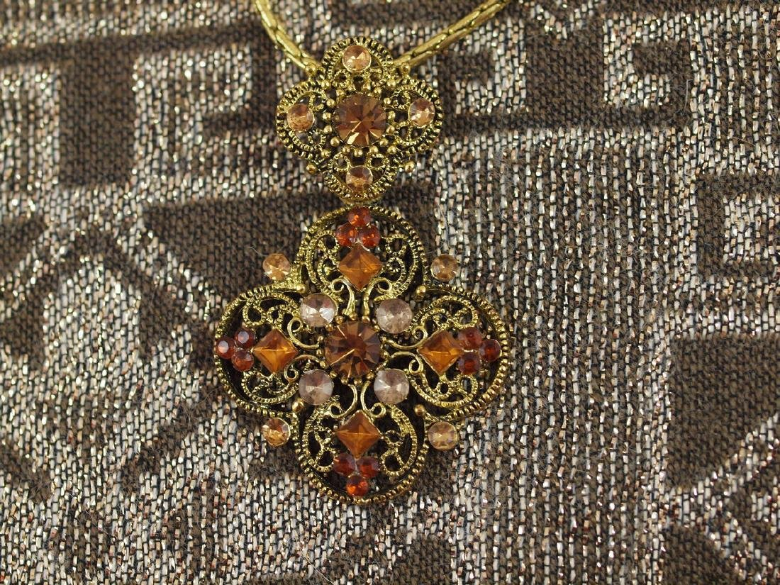 Vintage Golden 30 Crystals Necklace Pendant - 6