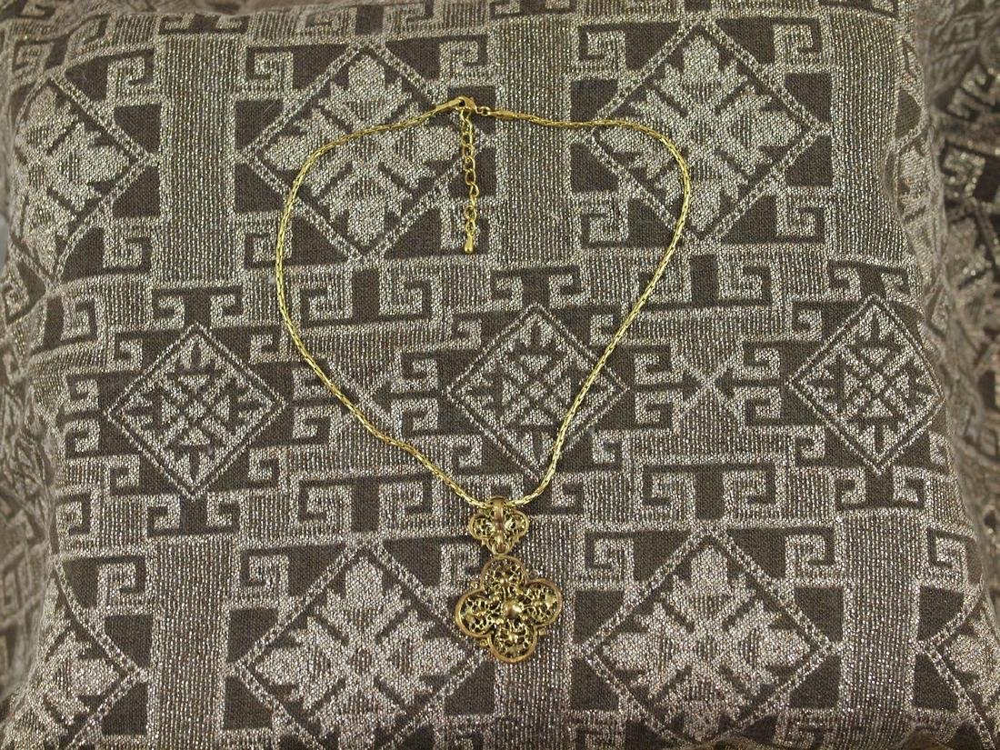 Vintage Golden 30 Crystals Necklace Pendant - 7