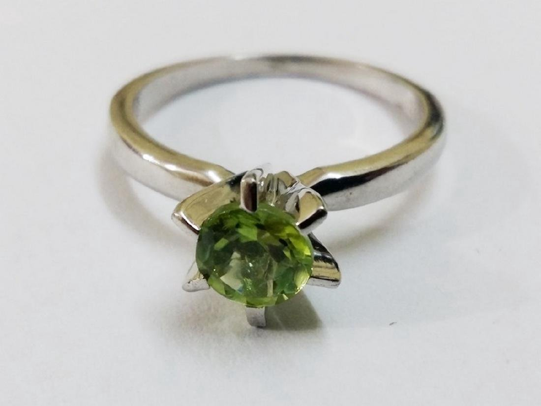 Sterling Silver Peridot Solitaire Ring
