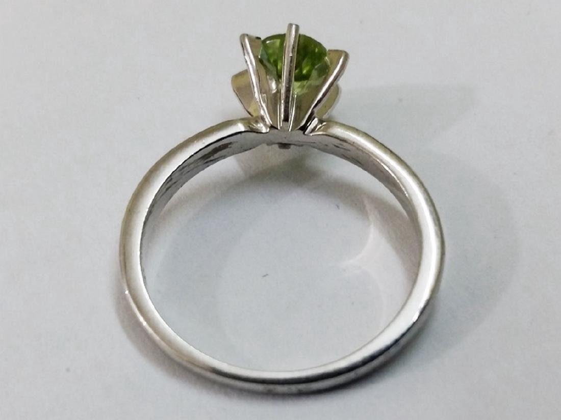 Sterling Silver Peridot Solitaire Ring - 2