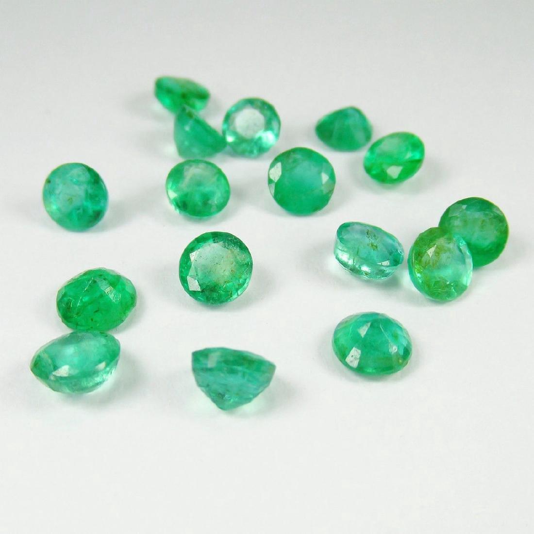 8.91 Carat Natural 16 Loose Emerald Round Lot - 2