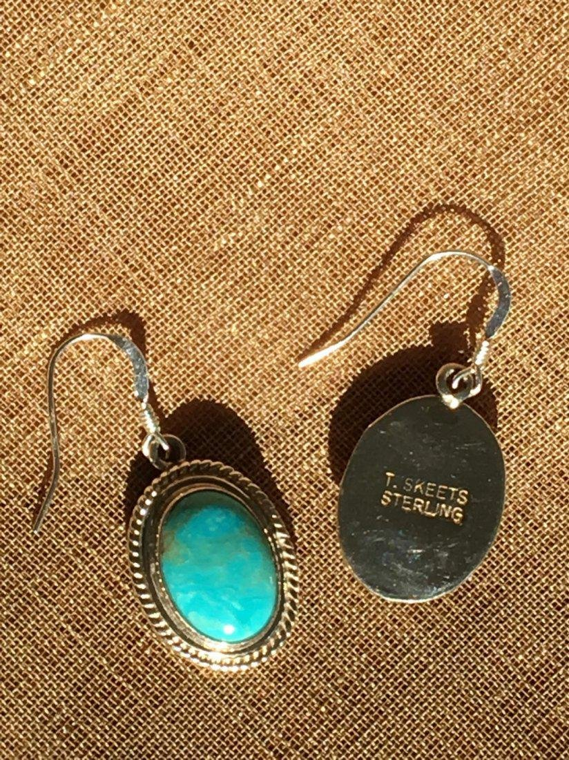 Native American Sterling Silver Turquoise Earrings - 2