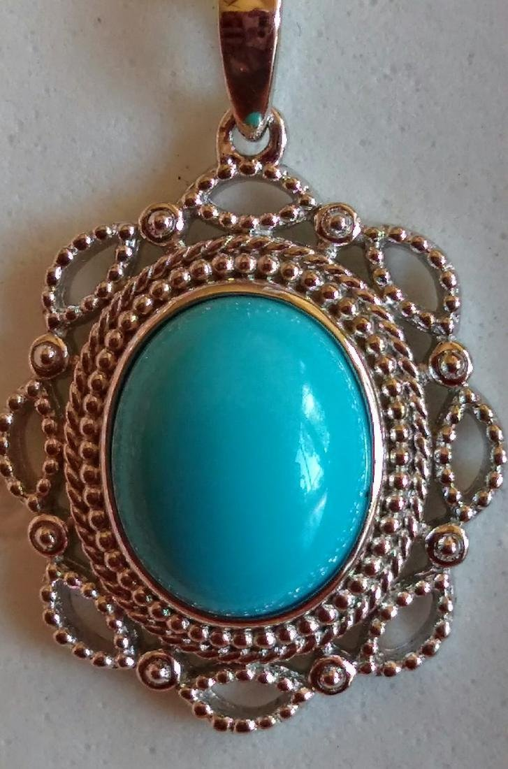 Sterling Silver Sleeping Beauty Turquoise Pendant 2.2ct - 3
