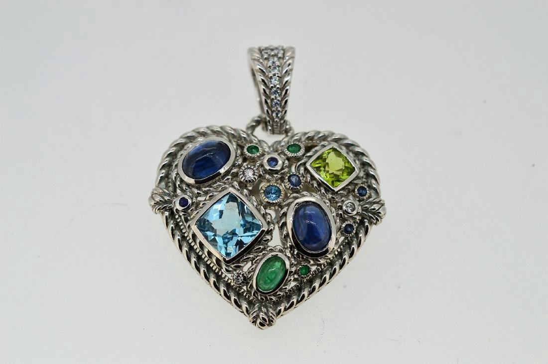 Judith Ripka Sterling Silver Topaz Heart Pendant