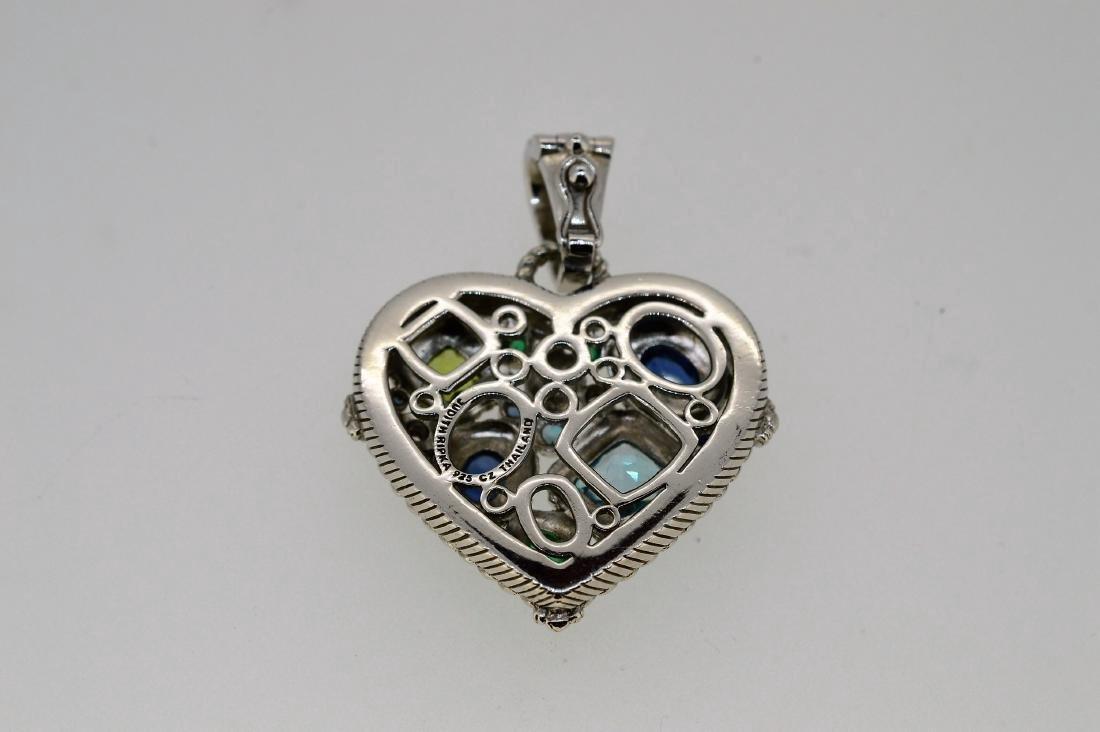 Judith Ripka Sterling Silver Topaz Heart Pendant - 2
