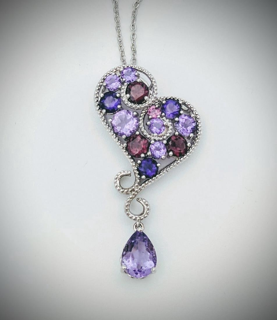 Sterling Silver Amethyst Garnet Swirly Heart Necklace