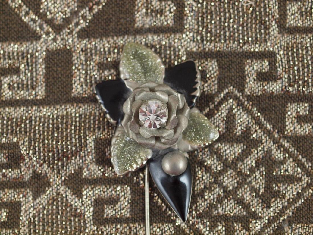 Vintage Art Deco Flower Enameled Petals Brooch - 2