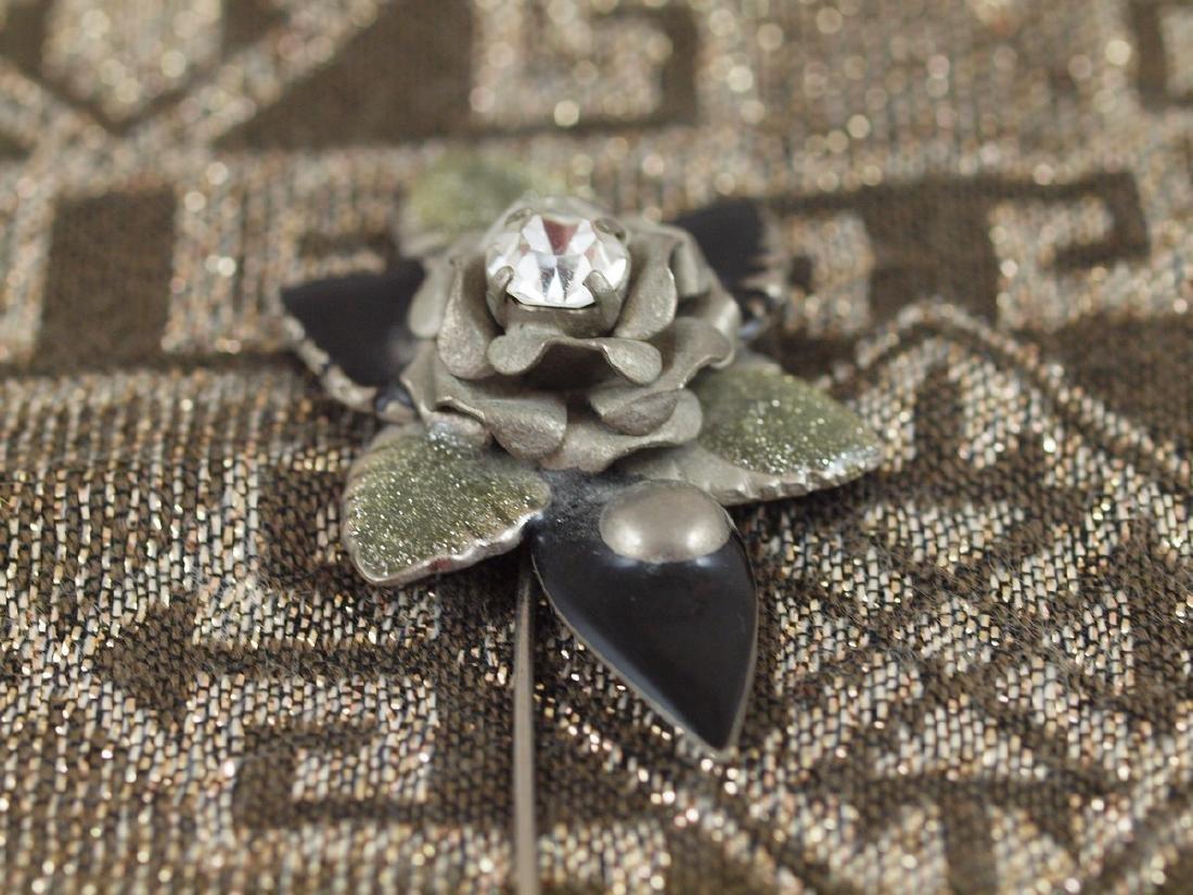 Vintage Art Deco Flower Enameled Petals Brooch - 3