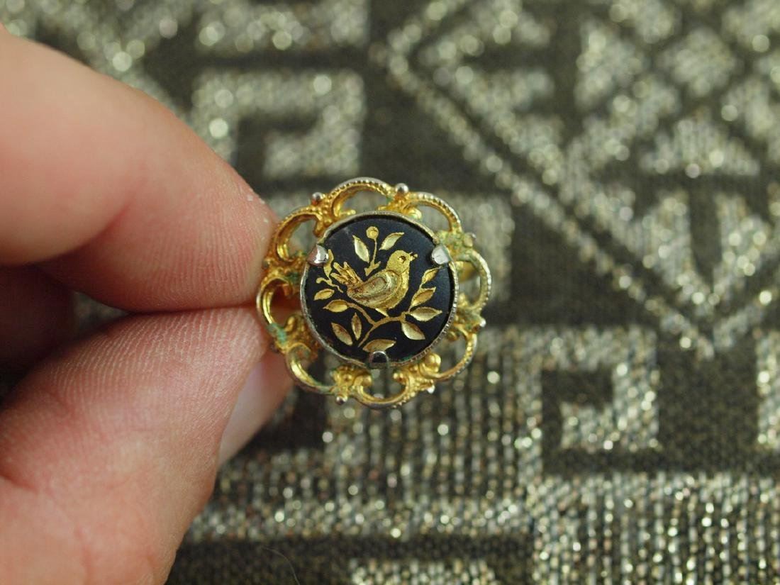 Vintage Golden Sparrow on a Tree Branch Ring, 1920s - 2