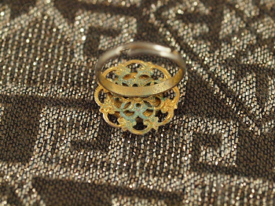 Vintage Golden Sparrow on a Tree Branch Ring, 1920s - 3