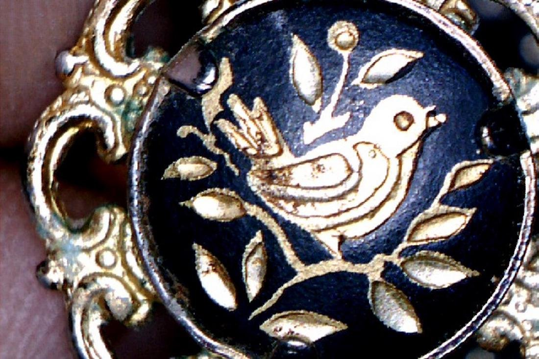 Vintage Golden Sparrow on a Tree Branch Ring, 1920s - 5