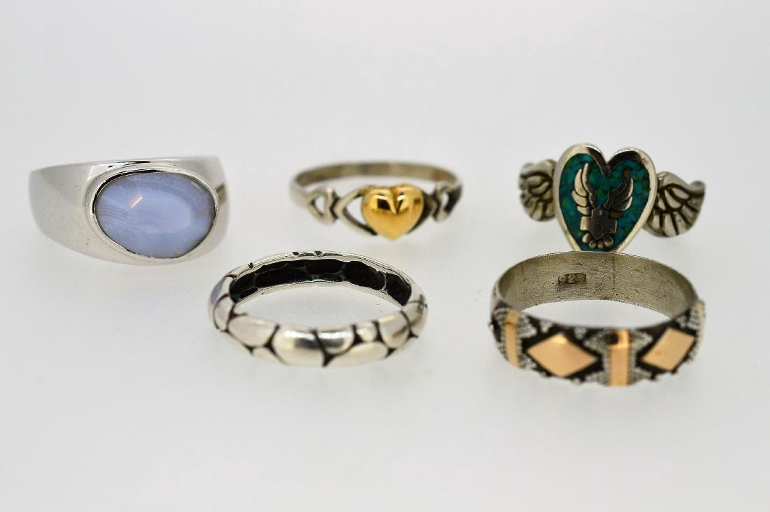 Variety of Casual Sterling Silver Rings, Various Sizes