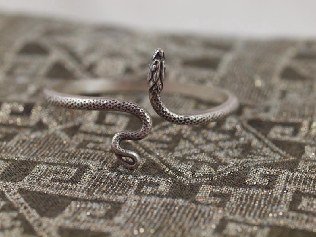 Vintage Art Deco Rigid Silver Figural Snake Bracelet - 2