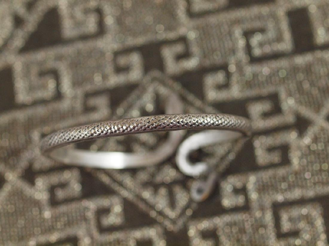 Vintage Art Deco Rigid Silver Figural Snake Bracelet - 3