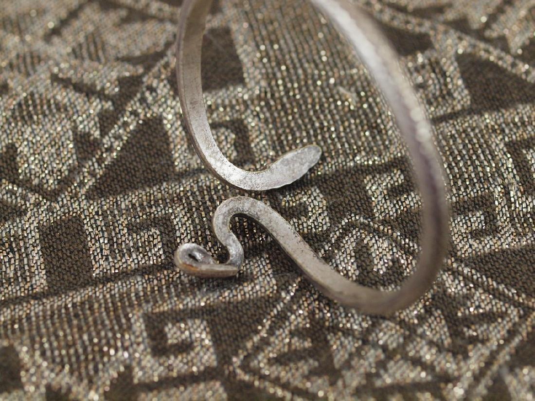 Vintage Art Deco Rigid Silver Figural Snake Bracelet - 5