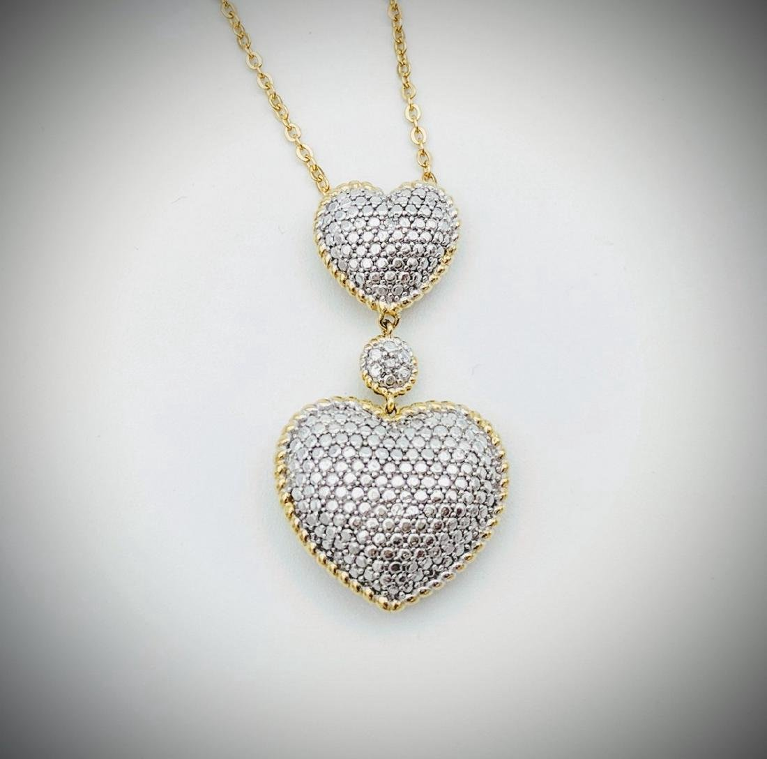 Gold Plated Sterling Silver Diamond Heart Necklace