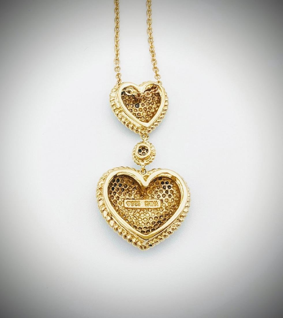 Gold Plated Sterling Silver Diamond Heart Necklace - 2