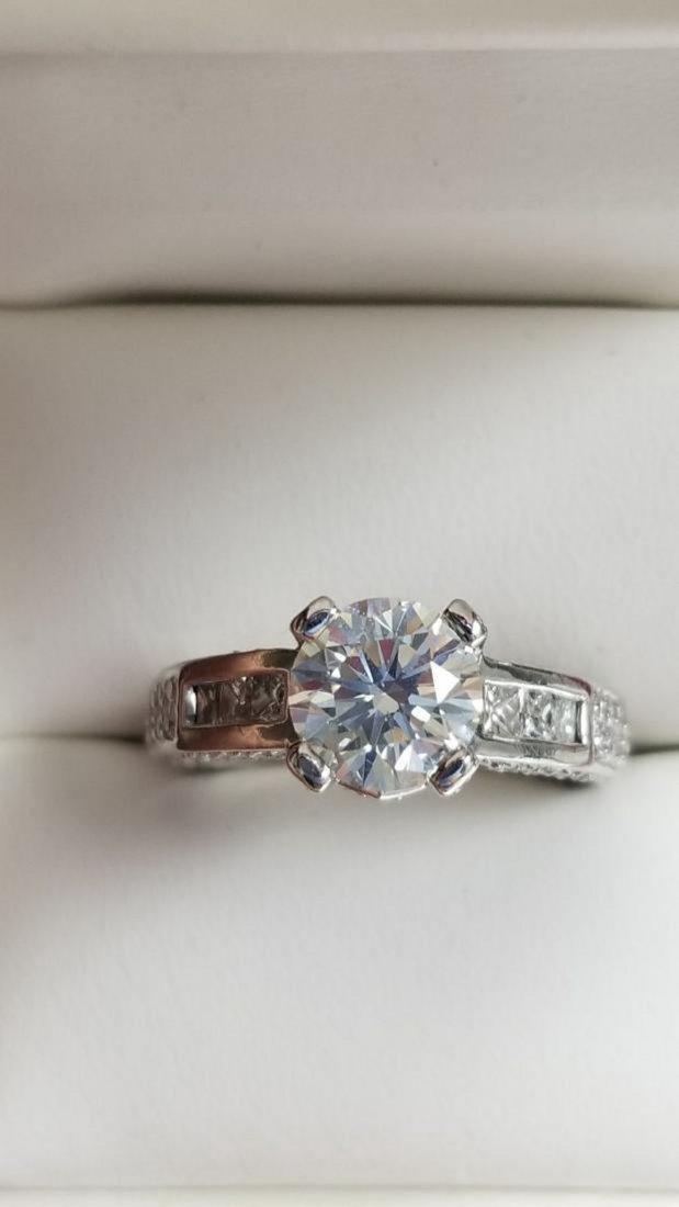 14K White Gold Diamond Engagement Ring, 2.3ctw