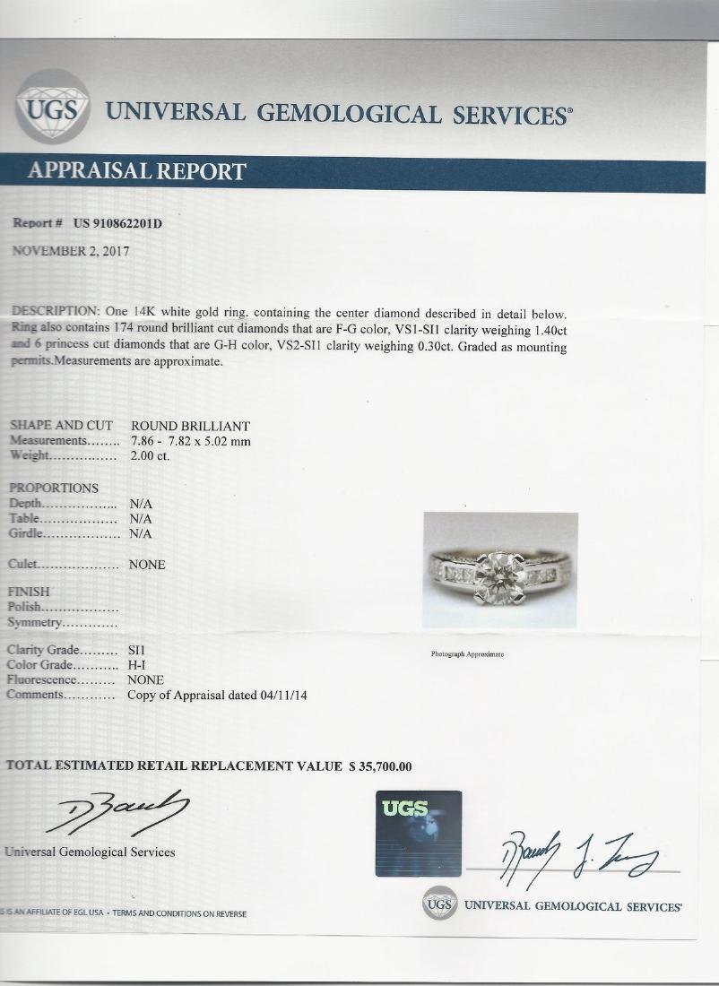 14K White Gold Diamond Engagement Ring, 2.3ctw - 5