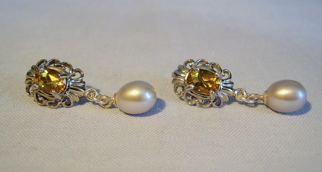 Sterling Silver Citrine Light Grey Pearls Earrings, 2ct