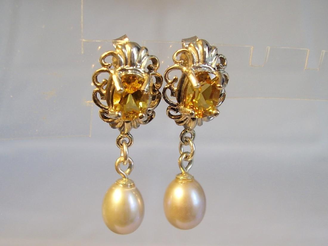 Sterling Silver Citrine Light Grey Pearls Earrings, 2ct - 2