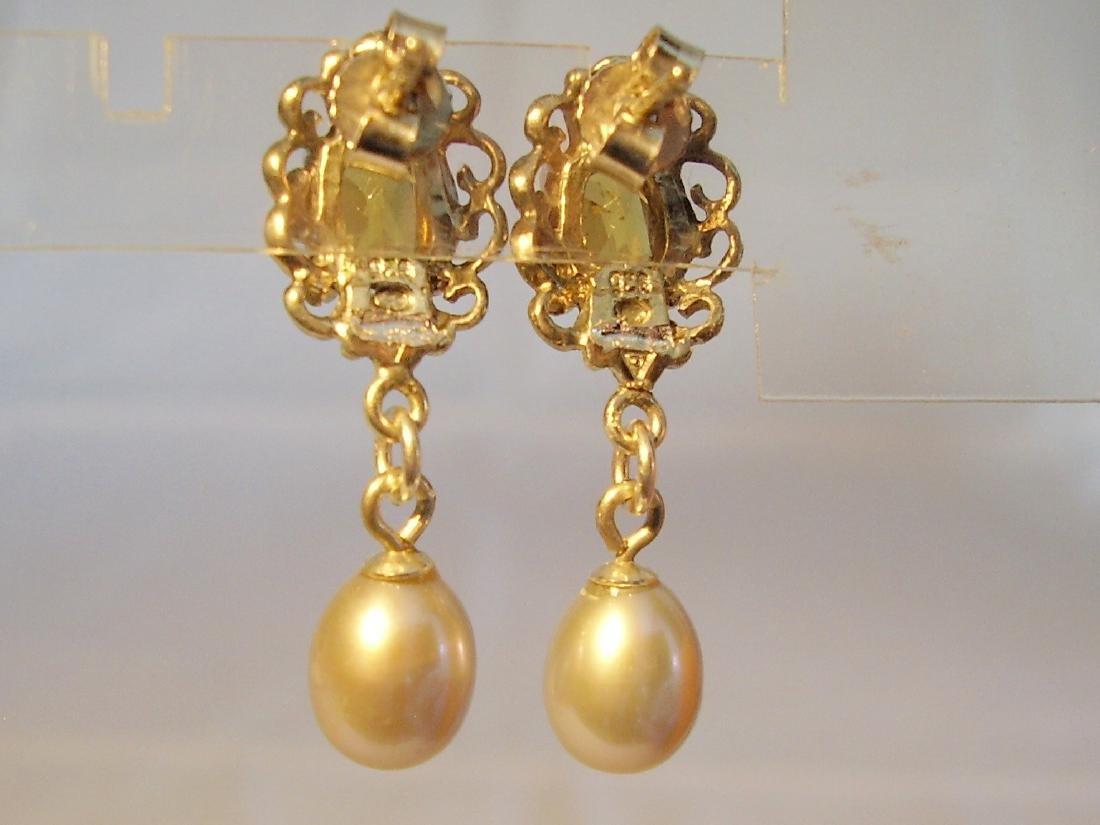 Sterling Silver Citrine Light Grey Pearls Earrings, 2ct - 3
