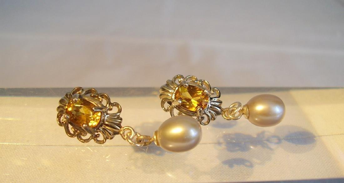 Sterling Silver Citrine Light Grey Pearls Earrings, 2ct - 4