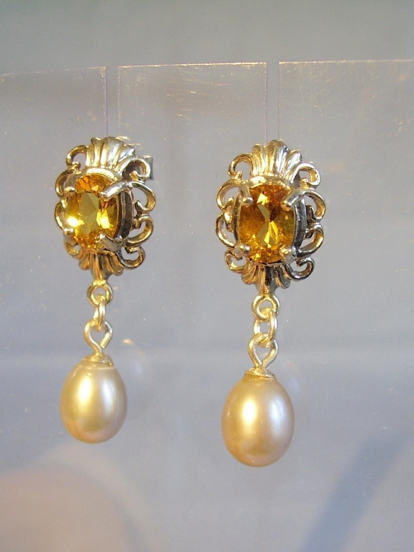 Sterling Silver Citrine Light Grey Pearls Earrings, 2ct - 5