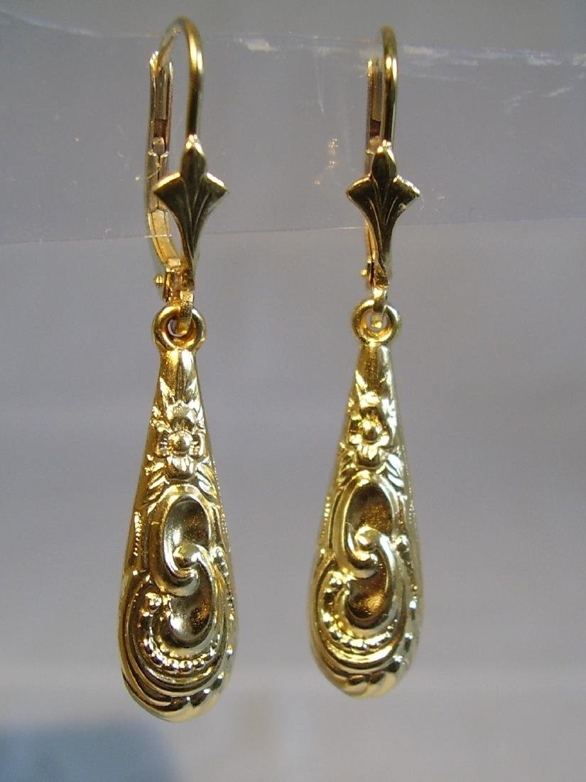 Antique Victorian 835 Silver Earrings - 2