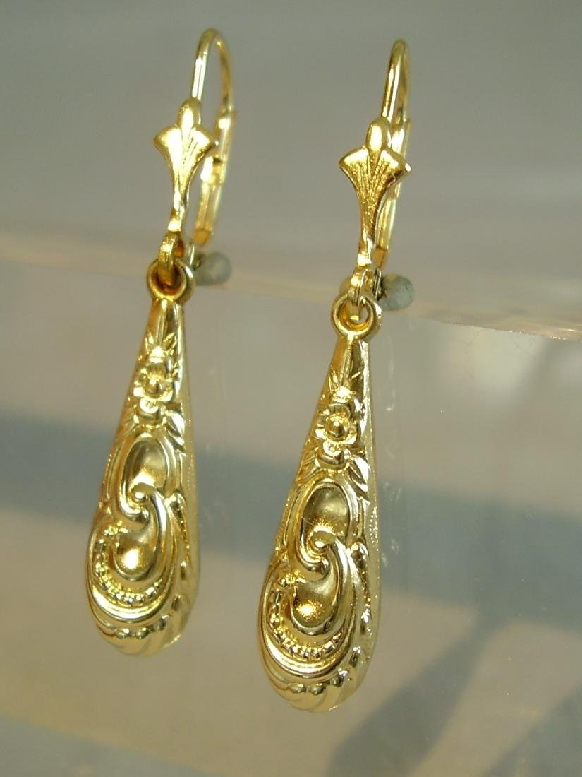 Antique Victorian 835 Silver Earrings - 3
