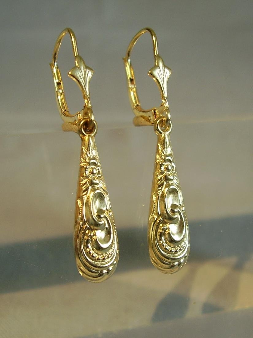 Antique Victorian 835 Silver Earrings - 4