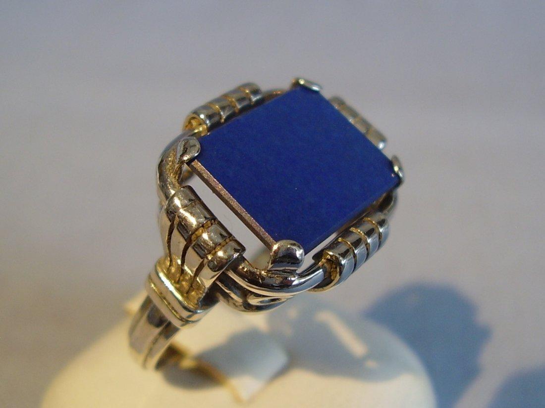 Antique 935 Silver Lapis Lazuli Ring, c1930