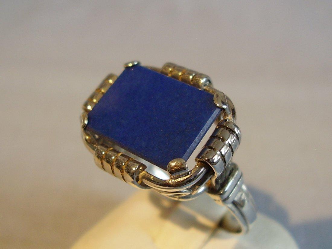 Antique 935 Silver Lapis Lazuli Ring, c1930 - 2
