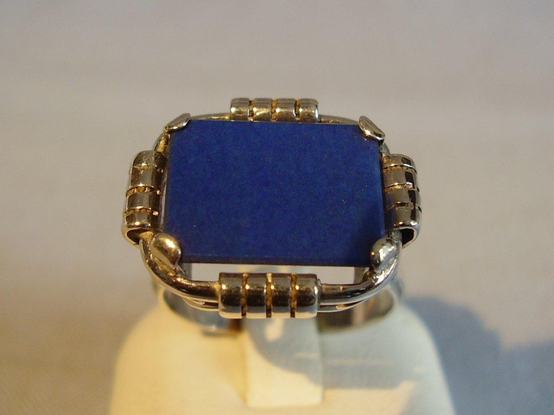 Antique 935 Silver Lapis Lazuli Ring, c1930 - 3