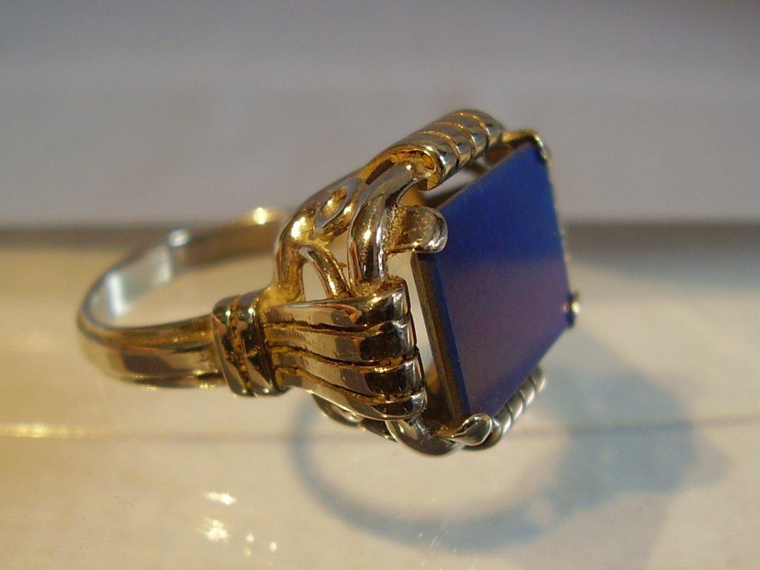Antique 935 Silver Lapis Lazuli Ring, c1930 - 4