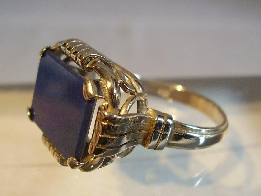 Antique 935 Silver Lapis Lazuli Ring, c1930 - 5