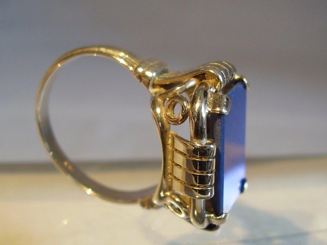 Antique 935 Silver Lapis Lazuli Ring, c1930 - 7